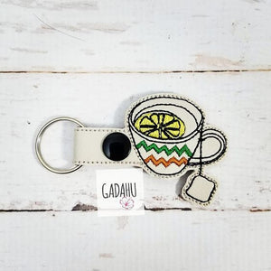 Lemon Tea Snap tab Key Fob ITH Embroidery Design file
