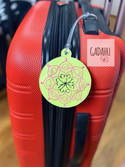 Mandala Flower Luggage Tag ITH Embroidery design
