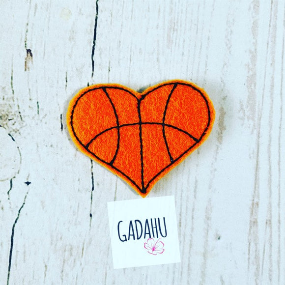 Basketball Heart feltie ITH Embroidery design file