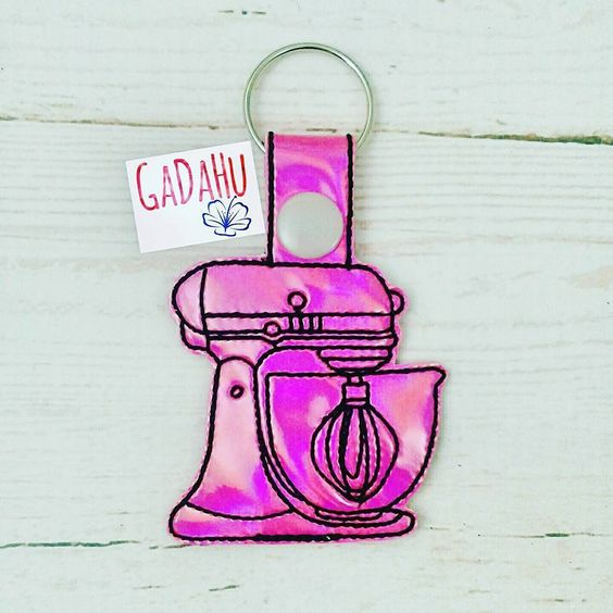 Stand Mixer Snap tab Key Fob ITH Embroidery Design file