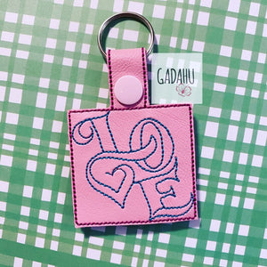 Love Snap tab Key Fob ITH Embroidery Design file
