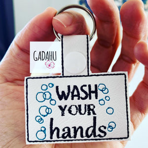 Wash your hands Snap tab Key Fob ITH Embroidery Design file