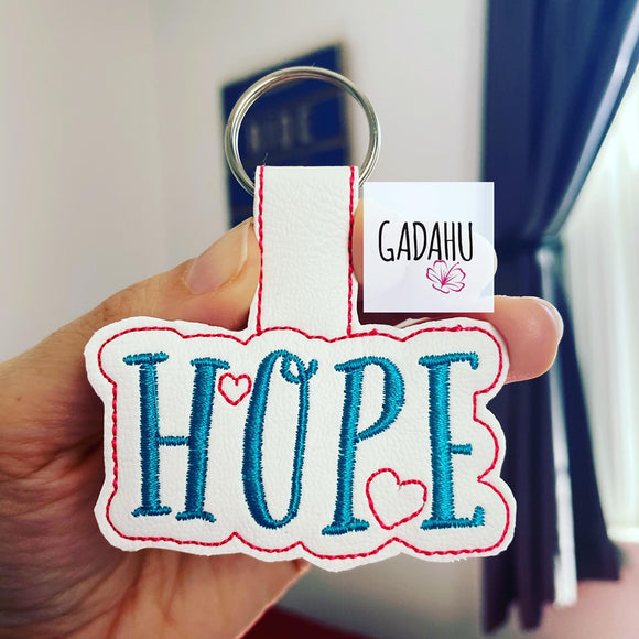 Hope Snap tab Key Fob ITH Embroidery Design file
