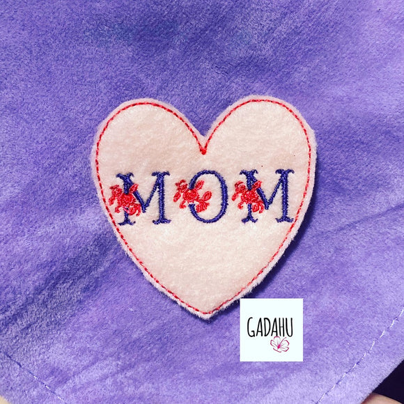 Mom heart feltie ITH Embroidery design file