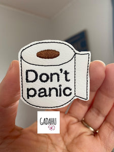 "Toilet ""Don't panic"" feltie ITH Embroidery design file"