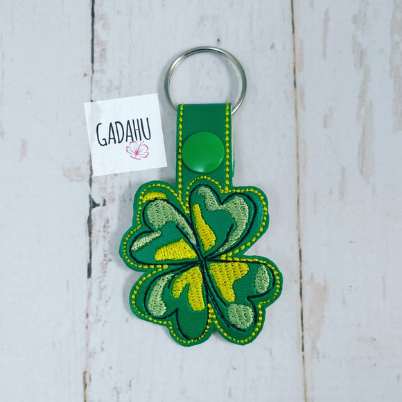 Four Leaf Clover Snap tab Key Fob ITH Embroidery Design file
