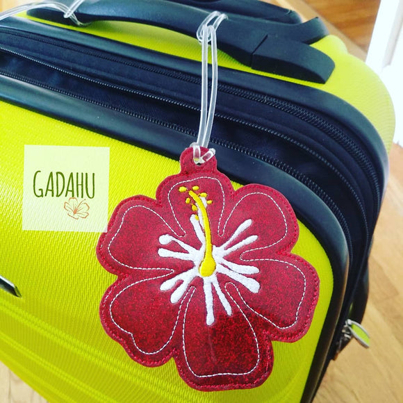 Hibiscus Flower Luggage Tag ITH Embroidery design