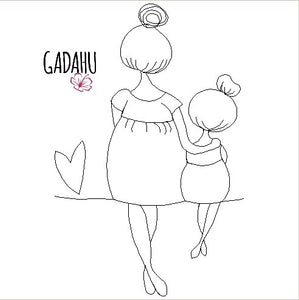 Mother and Daughter Machine Embroidery Design Digital file. Two Sizes 4x4/5x7