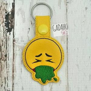 Vomiting Emoji Snap tab Key Fob ITH Embroidery Design file