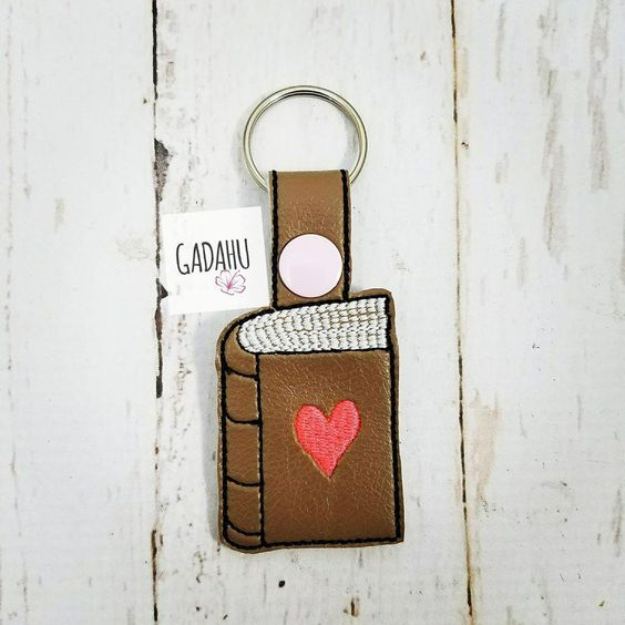 Book Heart Snap tab Key Fob ITH Embroidery Design file