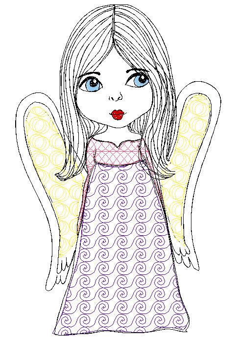 Christmas Girl Angel Blue Eyes Face Machine Embroidery Design 5x7 6x8 Digital file