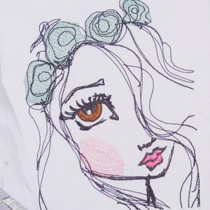 Girl face with flowers Face Machine Embroidery Design 5x7 6x8 Digital Design