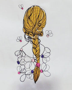 Girl with Braid Machine Embroidery Design 5x7 6x10 Digital Design