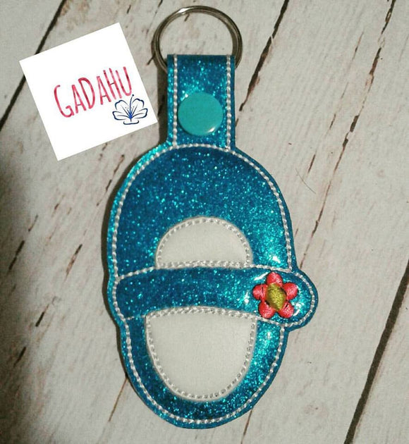Baby Girl Shoe Fob Snap Tab Embroidery Design 4X4 size