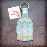 Birdcage/Dove Key Fob Snap Tab Embroidery Design 4X4 size