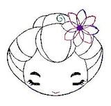 Japanese Cute Girl Face feltie. Embroidery Design 4x4 hoop Instant Download