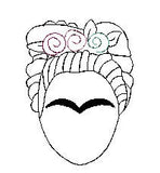Frida Khalo feltie. Embroidery Design 4x4 hoop Instant Download. Felties