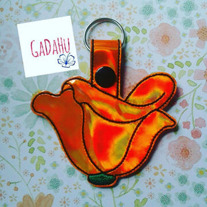 California Poppy Flower Key Fob Snap Tab Embroidery Design 4X4 size.