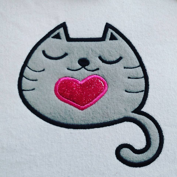 Cute Kitty with heart applique machine embroidery design. Digital File 4x4 5x7/ Cat applique embroidery design