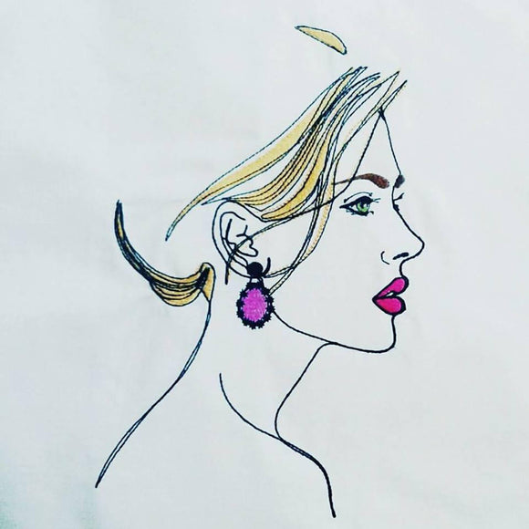 Elegant Woman with earring Machine embroidery design. Digital file. 5x7/6x10