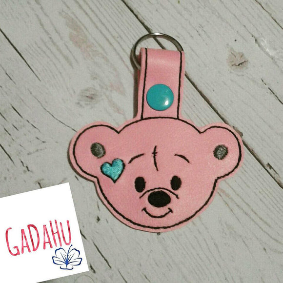 Cute Little Bear Face Key Fob Snap Tab Embroidery Design 4X4 size