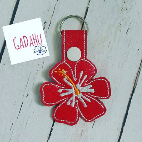 Hibiscus Hawaiian Flower Key Fob Snap Tab Embroidery Design
