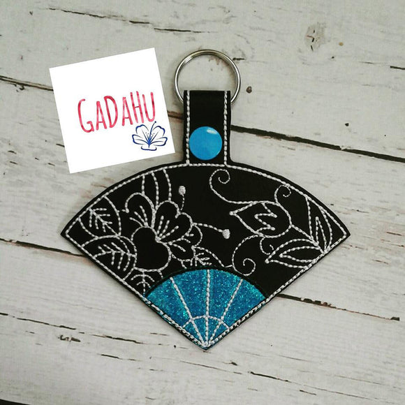 Japanese Hand Fan Key Fob Snap Tab Embroidery Design