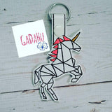 Unicorn Key Fob Snap Tab Embroidery Design