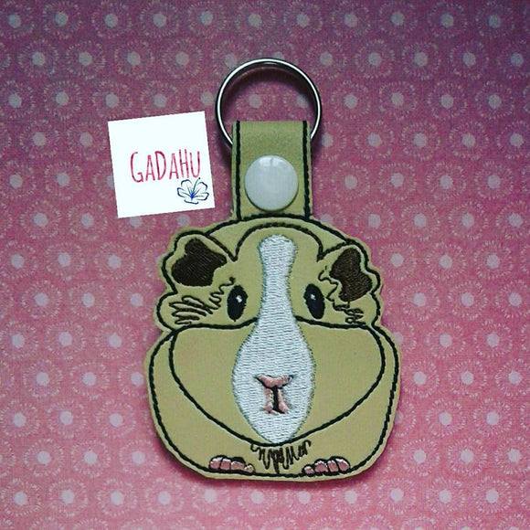 Guinea pig key snap tab embroidery design size cute
