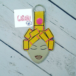 Woman with curlers Key Fob Snap Tab Embroidery Design
