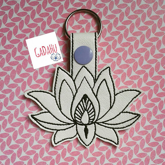 Lotus Flower Key Fob Snap Tab Embroidery Design
