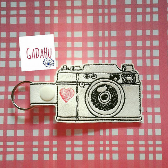 Vintage Camera Key Fob Snap Tab Embroidery Design