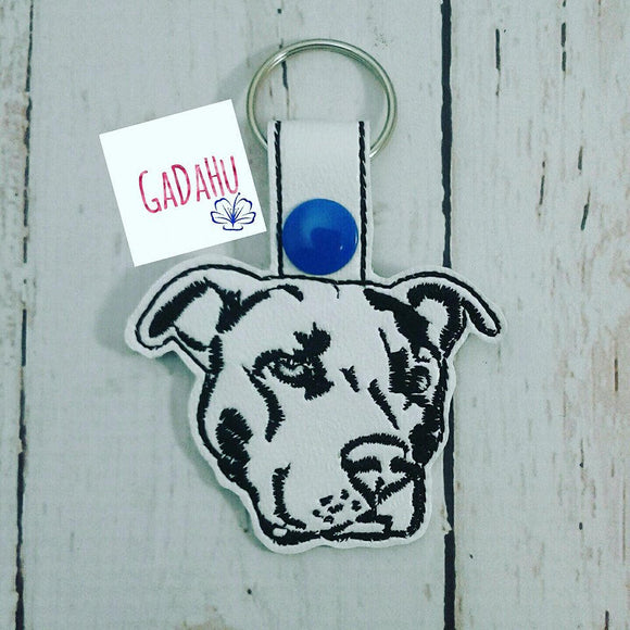 Pit bull Dog Key Chain / Snap Tab Embroidery Design.