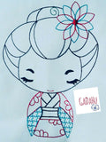 Cute Japanese Girl Machine Embroidery Design 3 Sizes: 4x4/5x7/6x8