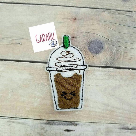 Latte coffee feltie. Embroidery Design Instant Download