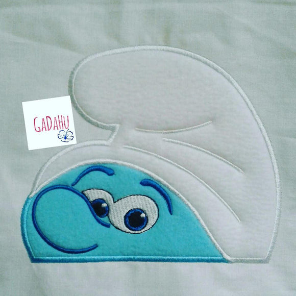 Blue Boy Peeker Hooded Towel Applique Embroidery Design In the hoop/ Digital instant download. Size 5X7