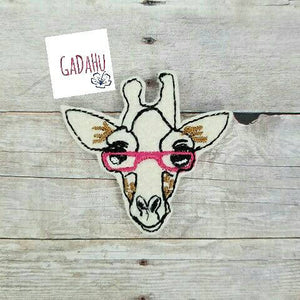 Cute giraffe with glasses feltie. Embroidery Design 4x4/5x7 hoop Instant Download. Felties. Animal feltie