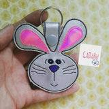Lop Eared Rabbit Key Snap Tab Embroidery Design