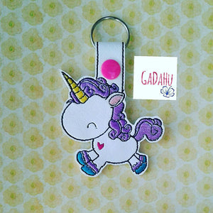 Unicorn with Heart Key Fob Snap Tab Embroidery Design
