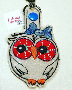 Cute owl with bow Key Snap Tab Embroidery Design