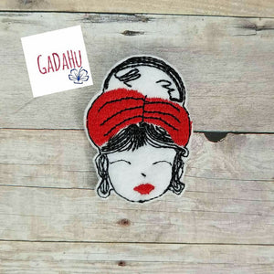 Fashion Girl with headband feltie. Embroidery Design 4x4 hoop Instant Download. Felties
