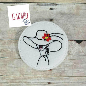 Elegant Woman with Hat and flower feltie . Embroidery Design 4x4 hoop Instant Download. Felties. Fashion feltie.