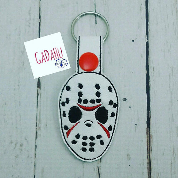 Hockey Mask Key Fob Snap Tab Embroidery Design