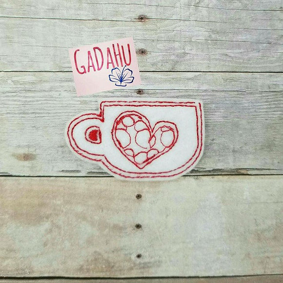 Mug with heart. Embroidery Design 4x4 hoop Instant Download