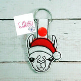 Llama Christmas Filled and Applique Key Fob Snap Tab Embroidery Design