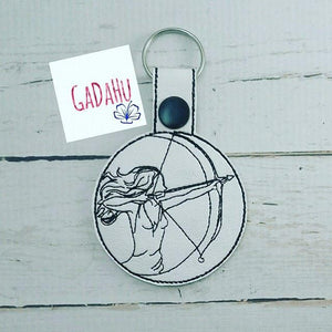 Sagittarius Girl Key Fob Snap Tab Embroidery Design