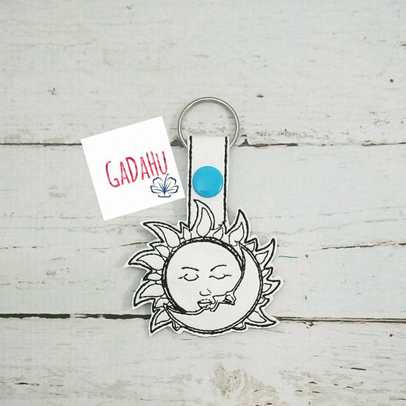 Sun and Moon Key Fob Snap Tab Embroidery Design