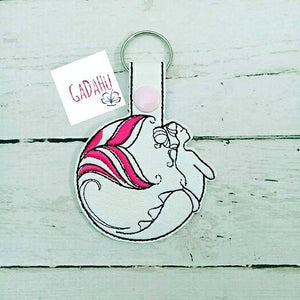Mermaid Girl Key Fob Snap Tab Embroidery Design