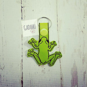 Tree Frog Snap tab Key Fob ITH Embroidery Design