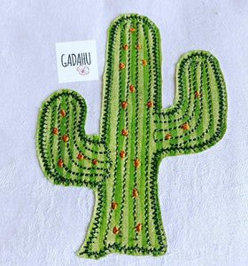 Cactus Raw Edge Applique Machine Embroidery Design Digital file. 4x4/5x7 Sizes